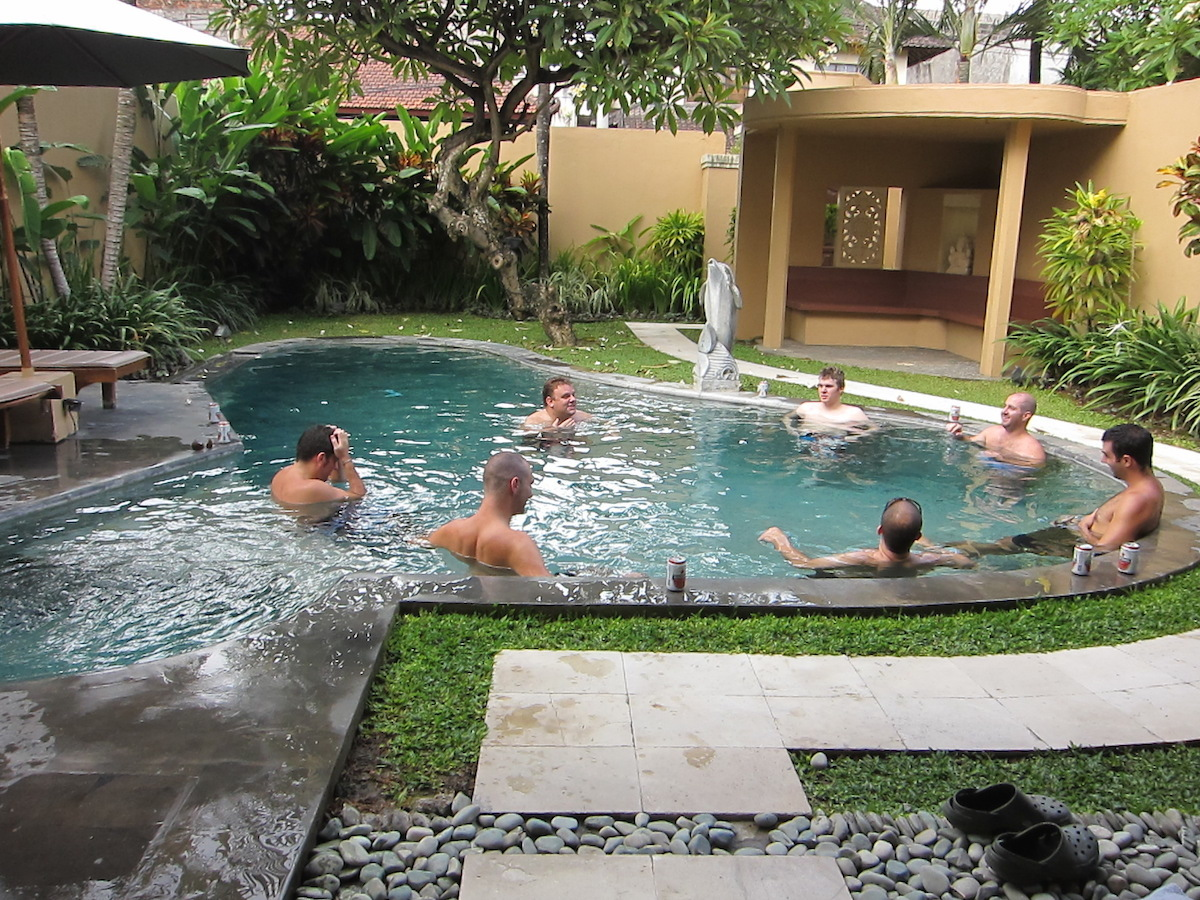 Boys Business Chat in the Pool